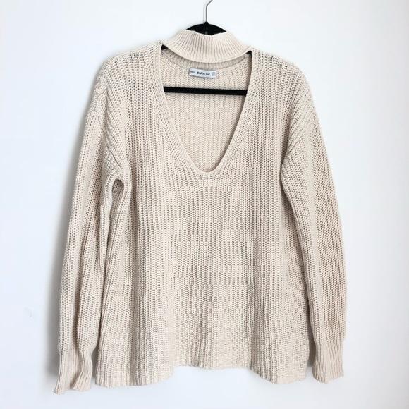 1d8f457715f3 Zara Choker V Neck Cream Knit Sweater. M_5b22eb4c45c8b3eefc43a1dd